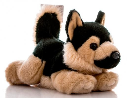 Мягкая игрушка собака Aurora Немецкая Овчарка плюш синтепон коричневый черный 28 см