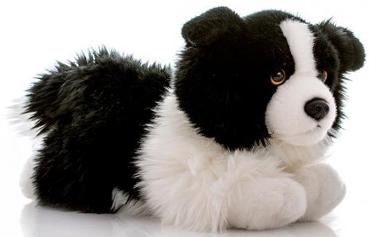 Мягкая игрушка собака Aurora Бордер-колли искусственный мех белый черный 28 см 300-13