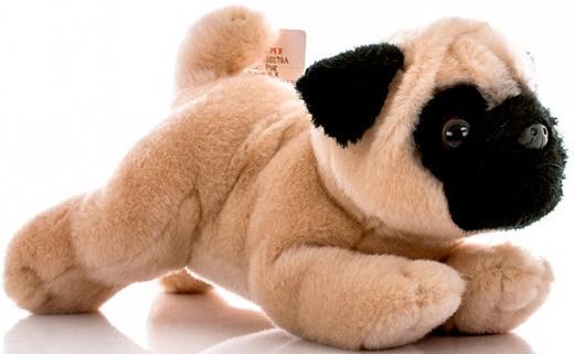 Мягкая игрушка собака Aurora Мопс плюш бежевый 28 см 300-12