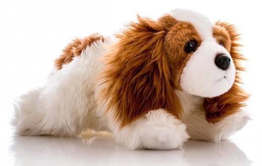 Мягкая игрушка собака Aurora Немецкая Чарльз спаниель плюш синтепон белый коричневый 28 см