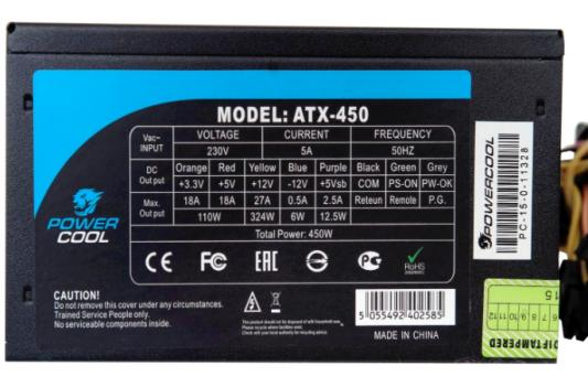БП ATX 450 Вт PowerCool PC450-120-APFC-80P-O блок питания atx 450 вт powercool pc450 120 apfc 80p o