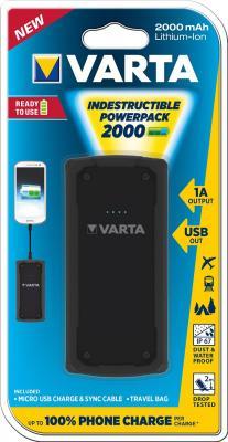 Внешний аккумулятор VARTA Indestructible Powerpack M10 2000mAh аккумулятор для мототехники varta 11ач moto agm 511 902 023 ytz14s bs