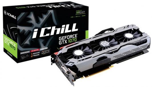 Видеокарта 8192Mb  Inno3D GeForce GTX 1070  iChill X4  PCI-E 256bit GDDR5X DVI HDMI DP HDCP C107V4-1SDN-P5DNX Retail