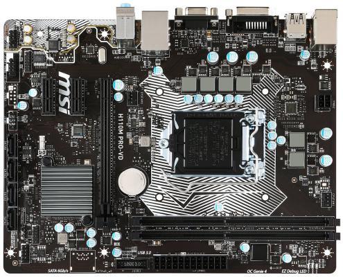 Мат. плата для ПК MSI H110M PRO-VD Socket 1151 H110 2xDDR4 1xPCI-E 16x 2xPCI-E 1x 4xSATAIII mATX Retail материнская плата пк msi b350m pro vd plus b350m pro vd plus