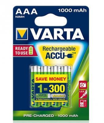 Аккумуляторы Varta R2U/MR3 1000 мАч AAA 4 шт