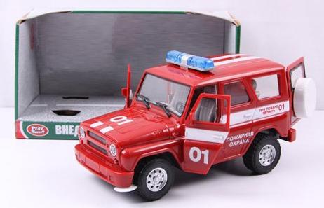 Пожарная машина Play Smart инерц.свет,звук,откр.дверь УАЗ Hunter 23 см Р40512 play smart машина инерционная уаз hunter дпс