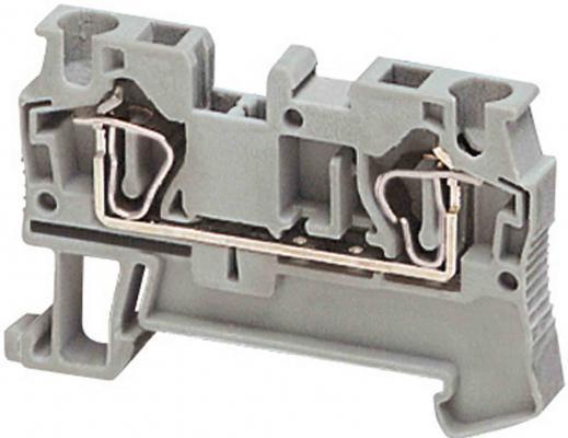 Клеммник Schneider Electric пружинный проходной сечением провода 4мм 2 точки подключения серый NSYTRR42