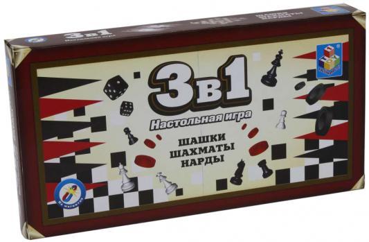 все цены на Настольная игра 1toy набор игр Шашки, шахматы, нарды