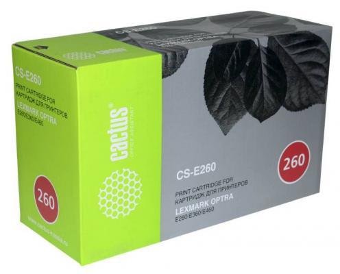 Картридж Cactus CS-E260 E260A21E для Lexmark Optra E260/E360/E460 черный 3500стр картридж cactus cs lx250 для lexmark optra e250 e350 e352 черный 3500стр