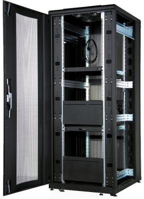 """Шкаф напольный 19"""" 47U Estap CLD70647U8010BR1R1 800x1000mm передняя дверь двустворчатая перфорированная задняя дверь двустворчатая перфорированная черный"""