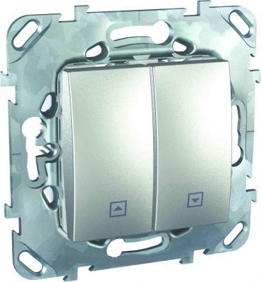 Выключатель Schneider Electric 2-клавишный для жалюзи алюминий MGU5.207.30ZD  выключатель schneider electric 1 клавишный алюминий mgu5 206 30zd