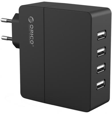 Сетевое зарядное устройство Orico DCA-4U-BK 4 x USB 1/2.4 А черный сетевое зарядное устройство orico dcv 4u eu wh 2 4а 4 x usb белый