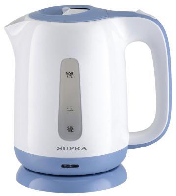 Чайник Supra KES-1724 2200 Вт белый синий 1.7 л пластик цена