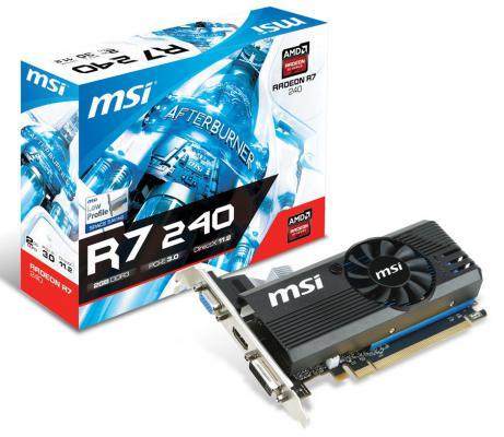 Видеокарта 2048Mb MSI R7 240 GDDR3 128bit LPV2 PCI-E CRT DVI HDMI HDCP Low Profile Retail