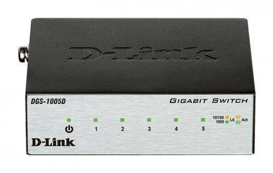Коммутатор D-LINK DGS-1005D/I2A неуправляемый 5 портов 10/100/1000Mbps