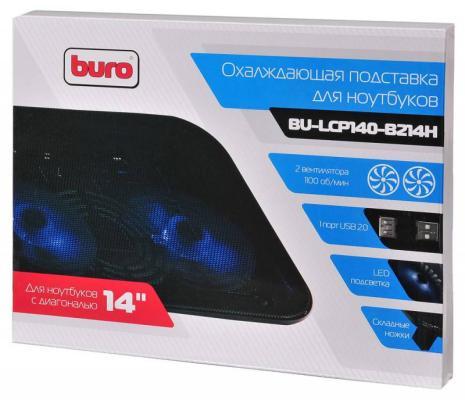"""Подставка для ноутбука 14"""" Buro BU-LCP140-B214H металл/пластик 1100об/мин 20db черный"""