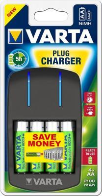 Зарядное устройство + аккумуляторы Varta Plug Charger 2100 mAh AA/AAA 4 шт батарейки varta energy lr6 aa 4 шт 4106213414