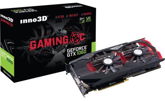 Видеокарта 6144Mb  Inno3D GeForce GTX 1060 PCI-E 192bit GDDR5 DVI HDMI DP HDCP N1060-1SDN-N5GNX Retail