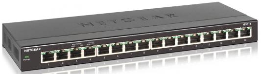 Коммутатор NetGear GS316-100PES неуправляемый 16 портов 10/100/1000Mbps коммутатор zyxel gs1100 16 gs1100 16 eu0101f