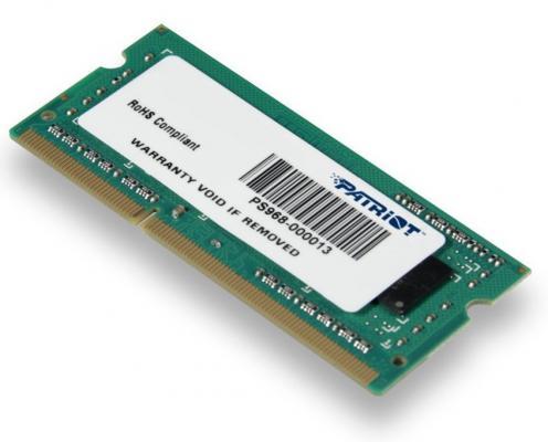Оперативная память для ноутбуков SO-DDR3 4Gb PC10600 1333MHz Patriot PSD34G133382S