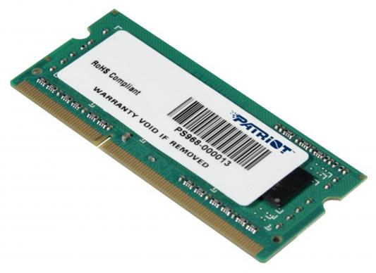 Оперативная память для ноутбуков SO-DDR3 4Gb PC12800 1600MHz Patriot PSD34G160082S