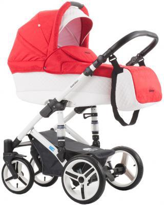 Коляска для новорожденного Mr Sandman Voyage (50% кожа/белый перфорированный-красный в принт бабочки/CH18)