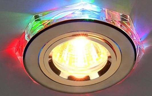 Встраиваемый светильник с двойной подсветкой Elektrostandard 2020 MR16 золото/мульти 4607176194807