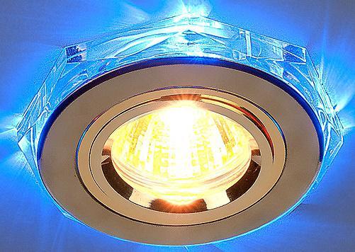 Встраиваемый светильник с двойной подсветкой Elektrostandard 2020 MR16 золото/синий 4607176194791 встраиваемый светильник с двойной подсветкой 2020 mr16 хром белый 4690389007491 elektrostandard 1168587