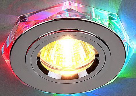 Встраиваемый светильник с двойной подсветкой Elektrostandard 2020 MR16 хром/мульти 4607176194784 встраиваемый светильник с двойной подсветкой 2020 mr16 хром белый 4690389007491 elektrostandard 1168587