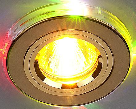 Встраиваемый светильник с двойной подсветкой Elektrostandard 2060 MR16 золото/мульти 4607176194746