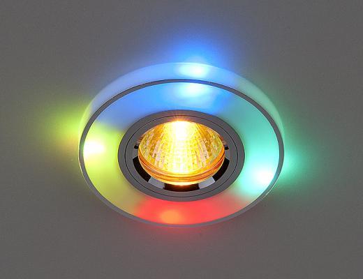 Встраиваемый светильник с двойной подсветкой Elektrostandard 2070 MR16 хром/мульти 4607176196290