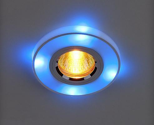Встраиваемый светильник с двойной подсветкой Elektrostandard 2070 MR16 хром/синий 4607176196313