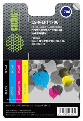 Картридж Cactus CS-R-EPT1706 для Epson Home XP-33/103/203/207/303/306/403 цветной картридж cactus cs r ept1706 для epson home xp 33 103 203 207 303 306 403 цветной