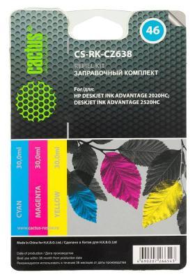 Заправка Cactus CS-RK-CZ638 для HP DeskJet 2020/2520 цветной 90мл заправка cactus cs rk f6v24ae для hp deskjet ink advantage 1115 2135 3635 3835 4535 цветной 90мл