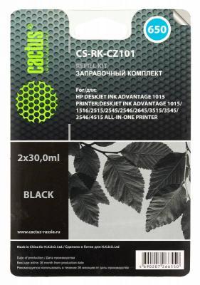Заправка Cactus CS-RK-CZ101 для HP DeskJet 2515/3515 черный 60мл заправочный набор cactus cs rk cz101 черный для deskjet 2515 3515