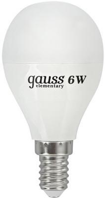 Лампа светодиодная шар Gauss Elementary E14 6W 4100K LD53126