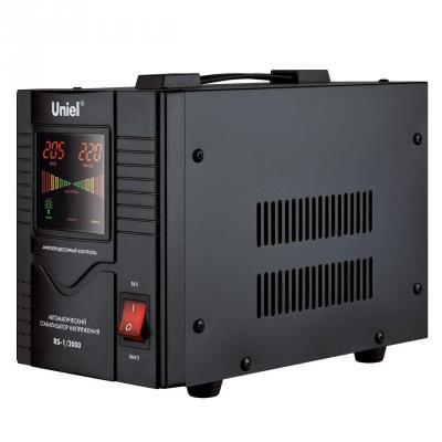 Стабилизатор напряжения Uniel RS-1/2000 черный 1 розетка 03110 цена