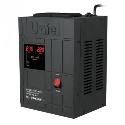 Стабилизатор напряжения Uniel RS-1/1000WS черный 2 розетки 07379