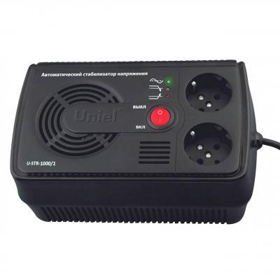 Стабилизатор напряжения Uniel U-STR-1000/1 черный 2 розетки стабилизатор напряжения uniel u ars 1500 1