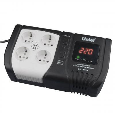 Стабилизатор напряжения Uniel U-ARS-1000/1 черный 4 розетки стабилизатор напряжения uniel expert 09622 1000ва u ars 1000 1