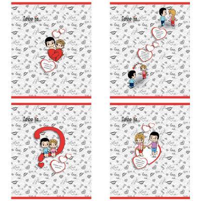 Тетрадь общая Action! Love is 96 листов клетка скрепка LI-AN 9618/5 в ассортименте