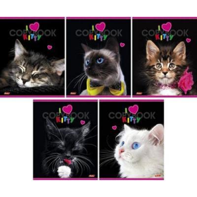 Тетрадь общая Хатбер I love Kitty 48 листов клетка скоба 038231 в ассортименте 48Т5вмВ1/ILK
