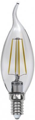 Лампа светодиодная (UL-00000200) E14 6W 3000K свеча на ветру прозрачная LED-CW35-6W/WW/E14/CL PLS02W
