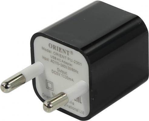 Сетевое зарядное устройство ORIENT PU-2301 USB 1A черный