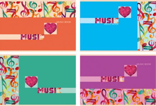 Тетрадь нотная Би Джи Цветная Музыка 24 листа линейка скоба Тн5ск24 1373 в ассортименте Тн5ск24 1373