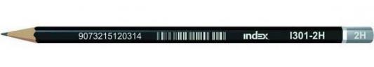 Карандаши чернографитные Index I301-2H 12 шт черный корпус