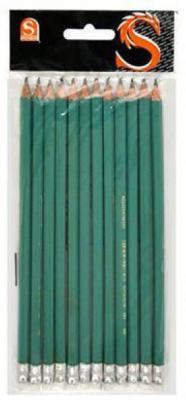 Карандаш графитовый SPONSOR SLB021 пластиковый зеленый корпус c ластиком SLB021