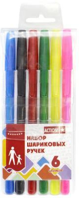 Набор шариковых ручек Action! ABP0604 6 шт разноцветный ABP0604 набор шариковых ручек автоматическая