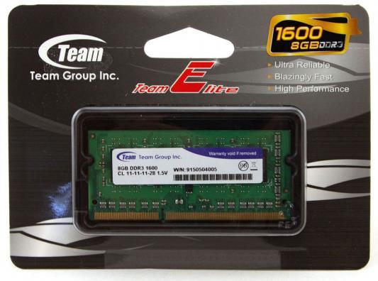 Оперативная память для ноутбуков SO-DDR3 8Gb PC4-12800 1600MHz Team Group TED38G1600C11-SBK