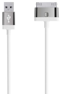 Кабель Belkin F8J041cw2M-WHT 30-pin to USB 2m белый кабель belkin f8j148bt04 wht lightning to usb 1 2m белый